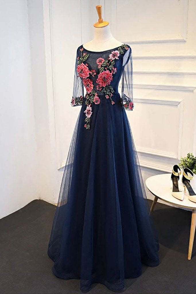 Navy Blue Tulle A Line Flower Appliques Prom Dress With
