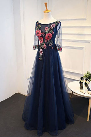 Navy BlueProm Dresses,Tulle Prom Gown,Flower Appliques Prom Dress,Prom Dress With Sleeves