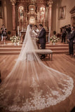 Fairy Tale Worthy One Layer Cathedral Length Lace Wedding Veil+Comb WV10