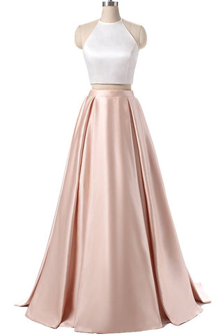 Charming Formal Halter Two Pieces Light Pink Prom Dress, Simple Satin Prom Gowns OK119