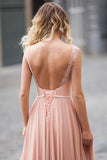Modest Blush Pink Lace Chiffon Sleeveless Backless A-Line Long Prom Dresses OK835