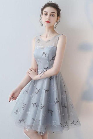Unique A-line Scoop Grey Mini Tulle Sleeveless Homecoming Dresses OKA73