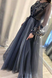 A Line Long Sleeves Appliques Prom Dresses, Formal Evening Dresses OKU32