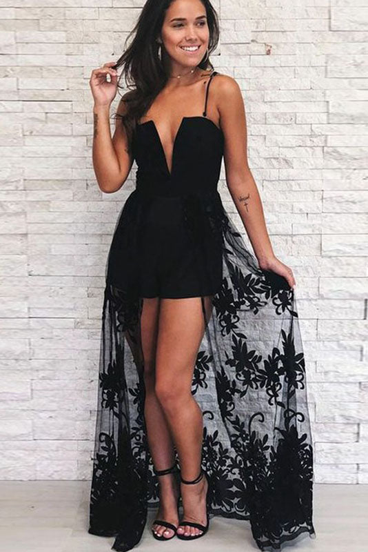 A Line Spaghetti Strap Black High Low Prom Dress With Lace OKQ62