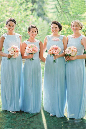 Cheap Bridesmaid Dress,Light Sky Blue Bridesmaid Dresses,Chiffon Bridesmaid Dress,Long Bridesmaid Dress,Lace Bridesmaid Dresses