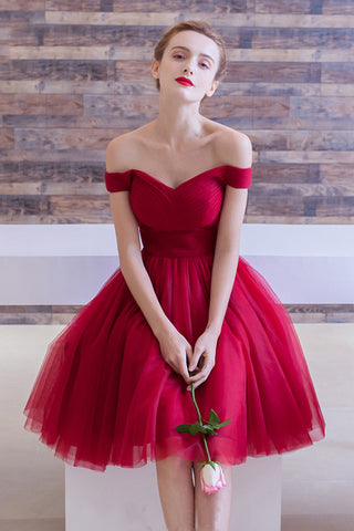 Red Homecoming Dresses,off the shoulder Homecoming Dresses,Simple Homecoming Dresses,tulle cocktail dress,Red Cocktail Dresses,Cocktail Party Dress