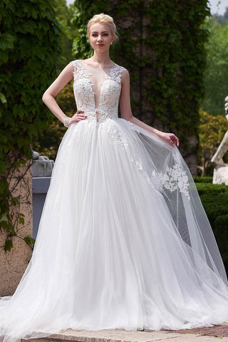 Designer White A-line Scoop Neck Tulle Court Train Appliques Lace Backless Wedding Dresses OK231