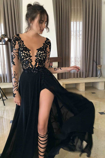 A-line Black Long Sleeve Chiffon Split Lace Prom Dress,2017 Sexy Long Evening Dresses OK149