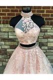New A Line Two Pieces High Neckline Long Lace Formal Prom Dress OK732