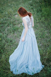 Long Light Blue Chiffon Scoop A-line Floor-length Appliques Prom Dress OK736