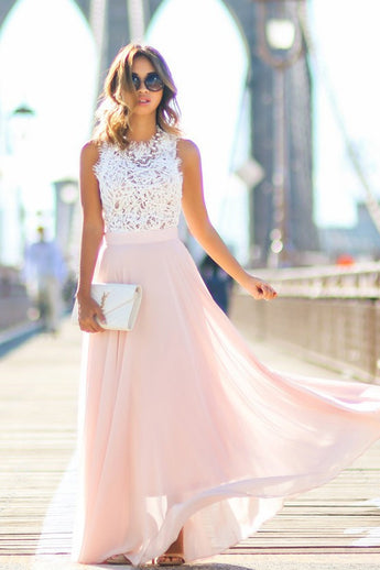 Modest Chiffon A Line Long Prom Dresses,Blush Pink White Lace Evening Dresses OK156