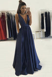 Sexy Deep V-neck Long A Line Prom Dresses Graduation Party Dresses For Teens OK101