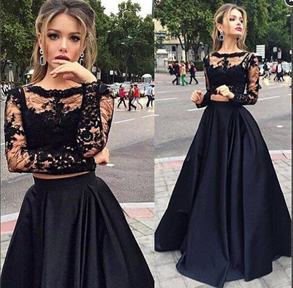 Two Piece Black A Line Lace Top Long Sleeves Formal Prom Dress OK729