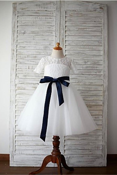 Lace Flower Girl Dress,Long Flower Girl Dresses,A-line Flower Girl Dress