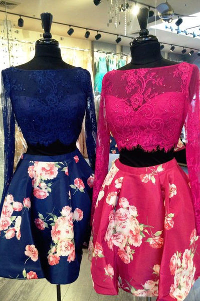 Sexy Homecoming Dresses,Two Pieces Homecoming Dresses,Floral Homecoming Dresses,Long Sleeves Prom Dresses,Royal Blue Homecoming Dresses,Lace Prom Dresses,Short Prom Dresses