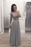 A Line Gray Chiffon Long Sleeves Prom Dresses, Cheap Appliques Evening Gown OKI12