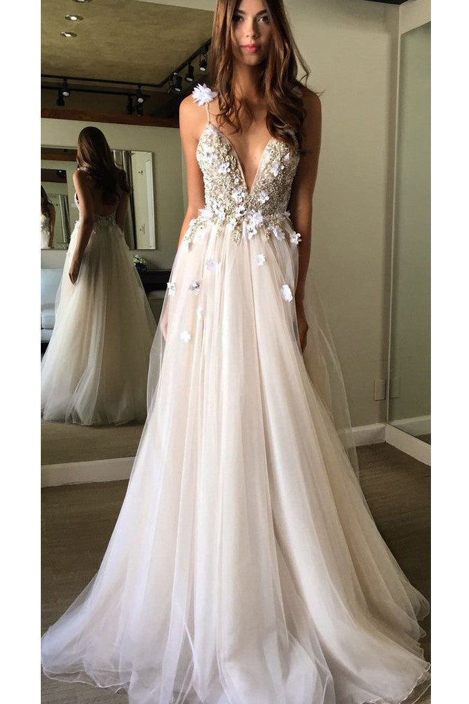 Floral Open Back Deep V Neck Prom Gown Tulle Appliques