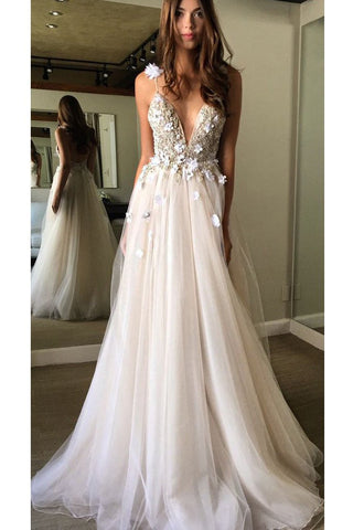 Floral Open Back Deep V-neck Straps Tulle Appliques Prom Dress,, Floral Princess Wedding Dress OK180