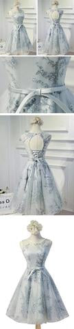 Vintage Sleeveless Round Neck Bow Sash Tulle  Homecoming Dress OK345