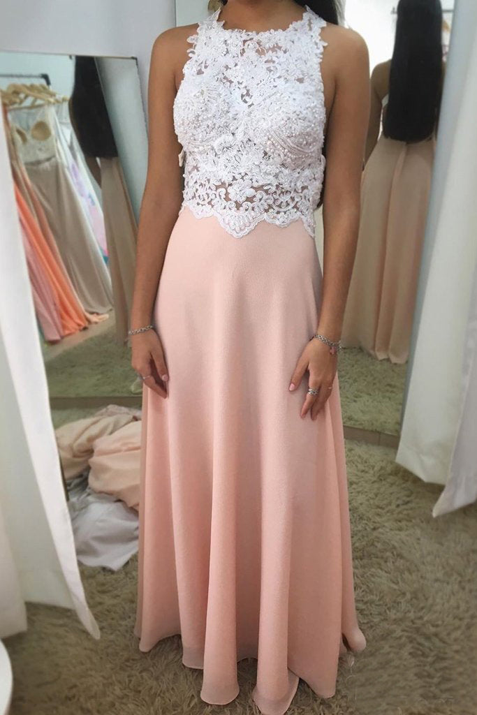 Halter Neck Beadings Blush Appliques Beaded Chiffon Prom Dresses OKS84