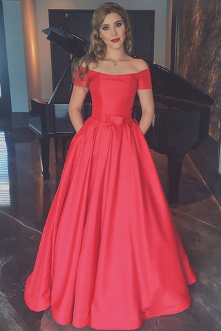 Elegant Coral Prom Dresses ,Short Sleeves Ball Gown Prom Dress With Pocket,Off the Shoulder Sexy Cheap Prom Gowns,Watermelon Long Evening Gowns,Communication Dress,Quinceanera Dresses,Graduation Dress