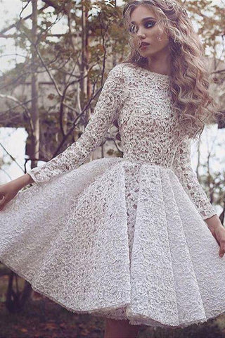 Chic Lace Scoop Long Sleeve Ivory Short Homecoming Dress Prom Party Dress OKE2