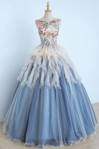 8c41dc19d37 Long Applique Ball Gown Prom Dress
