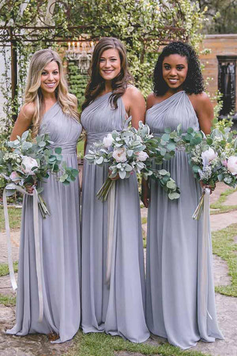 Fashion Bridesmaid Dresses,One-Shoulder Bridesmaid Dress,Lavender Bridesmaid Dresses,Chiffon Bridesmaid Dress
