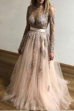 A Line Tulle Long Sleeves Appliques Cheap Prom Dresses OKF61