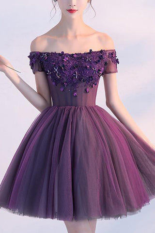 Cute Homecoming Dress,Purple Homecoming Dress,Purple Prom Dresses,A line Homecoming Dress,Off-shoulder Homecoming Dresses,Appliques Homecoming Dresses,Sexy Homecoming Dress