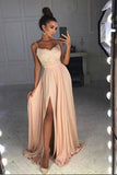 Simple Prom Dresses,Spaghetti Straps Prom Gown,Side Split Prom Dress,Lace Top Prom Dres