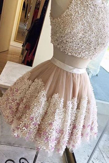 Cute homecoming dresses,Tull Prom Dress,Flower Prom Dress,Lace Appliqued Homecoming Dress,Short Prom Dresses,Two Pieces Homecoming Dresses,2 Piece Prom Dress