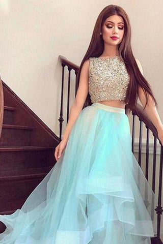 Bateau Beading High Low Short Two Piece Beading Homecoming Dresses