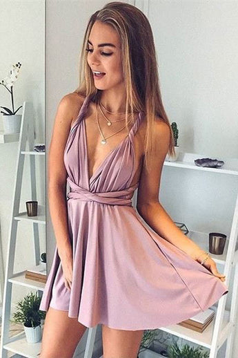 A-Line Deep V-Neck Sexy Homecoming Dresses,Short Summer Prom Dresses OK433