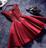Burgundy A A Line Short Satin Homecoming Dresses OKD85