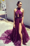 Elegant Purple A Line Long Front Slit Formal Prom Dress OK780