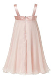 Princess Pink A-Line Chiffon Sleeveless Floor-Length Flower Girl Dress OK705