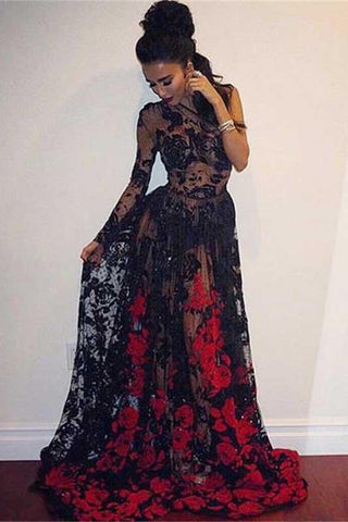 A Line One Shoulder Floor Length Long Sleeve Black Lace Prom Dress