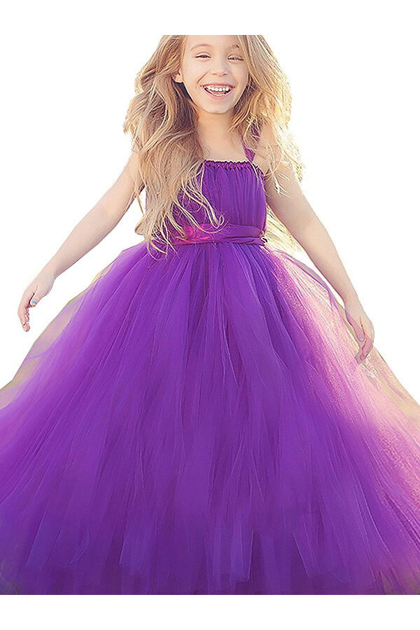 Ball Gown Flower Girl Dress,Straps Flower Girl Dresses,Fuchsia Flower Girl Dress
