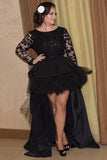 Plus Size Prom Dress,Large Prom Dress,Black Prom Dresses,Long Sleeve Prom Dress,Lace Prom Gown