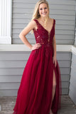 Princess Prom Dresses,Beading Prom Gown,Red Prom Dress,Chiffon Prom Dress,Side Slit  Prom Dress