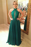 Charming Prom Dresses,A-Line Prom Gown,Green Prom Dress,Open Back Prom Dress,Beading   Prom Dress