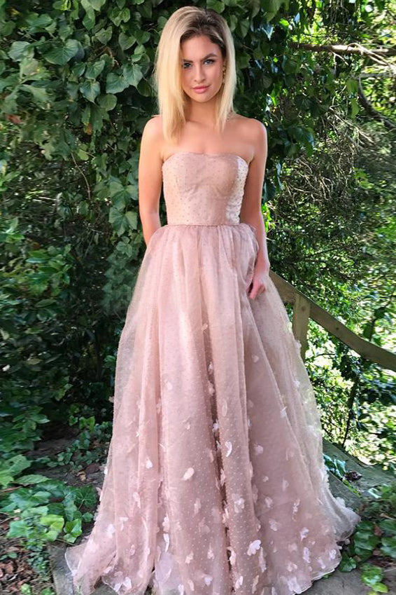 Princess Prom Dresses,Strapless Prom Gown,Dusty Pink Prom Dress,Formal Prom Dresses