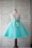 Blue Ball Gown Scoop Sleeveless Bowknot Floor-Length Tulle Appliques Flower Girl Dresses OK722