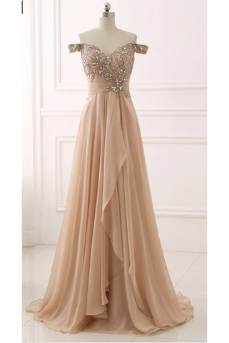 Chiffon Prom Dress,Off Shoulder Prom Dresses,Beaded Evening Dress,Pleated Prom Dresses,A Line Prom Gown,Champagne Prom Dresses