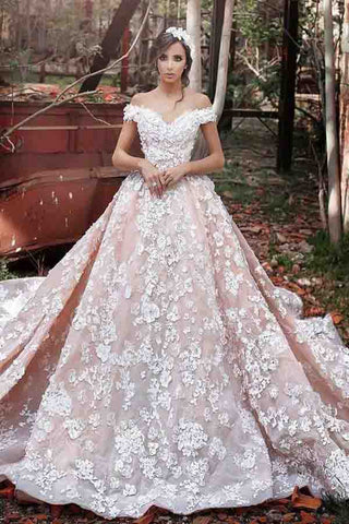 Luxurious Off Shoulder Wedding Gown,Watteau Train Formal Dress,Short Sleeves Organza Wedding Dress with Lace,Dramatic Blush Wedding Dresses,Wedding Dresses