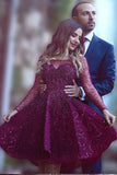 Long Sleeves Homecoming Dress ,Sparkly Prom Dresses,Short Party Dress, Custom Homecoming Dress,Sweet 16 Cocktail Dress,Purple Homecoming Dress