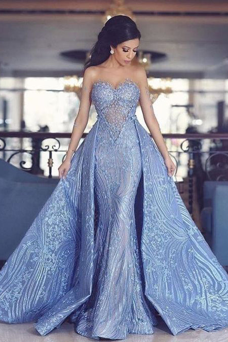 Elegant Prom Dresses,Sweetheart Prom Gown,Mermaid Prom Dresses,,Prom Dress With Detachable Train,Fashion Evening Dresses,Blue Party Dress