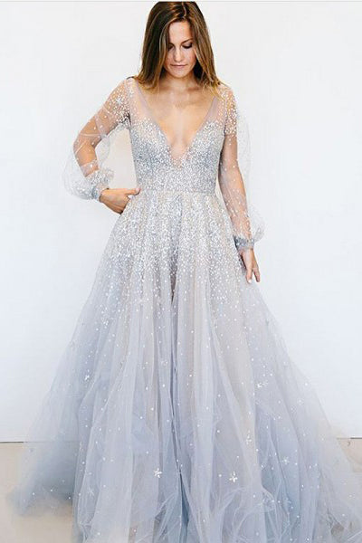 Princess Prom Dresses,Deep V-Neck Prom Gown,uffy Prom Dress,Long Sleeves Prom Dress,Beading Prom Dress
