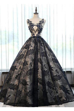 2018 Prom Dresses,Ball Gown Prom Gown,Black Prom Dress,Appliques Prom Dresses